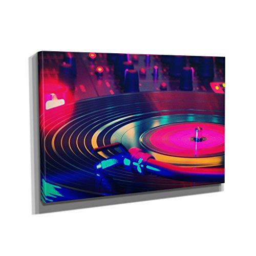 Neon Turntable - Kunstdruck auf Leinwand (90x60 cm) zum Verschönern Ihrer Wohnung. Verschiedene Formate auf Echtholzrahmen. Höchste Qualität.