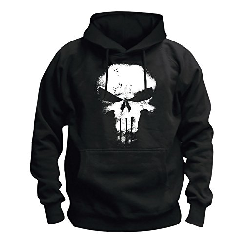 Punisher Hooded Sweatshirt Skull Logo Hoodie Marvel Black