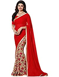 Macube Women's Georgette Saree With Blouse Piece (Ms1279_01, Multicolor, Free Size)