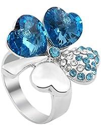 Le Premiumà Clover SWAROVSKIà ELEMENTS cristal bague aigue marine collier