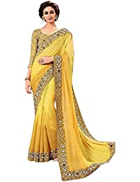 Jashvi Creation Women's Multi-Coloured Georgette Partywear Saree With Embroidered Blouse Piece ( New Collection_Saree_Sari...
