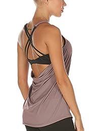 icyzone Damen Sport Yoga Top mit BH - 2 in 1 Fitness Shirt Cross Back BH Training Tanktop