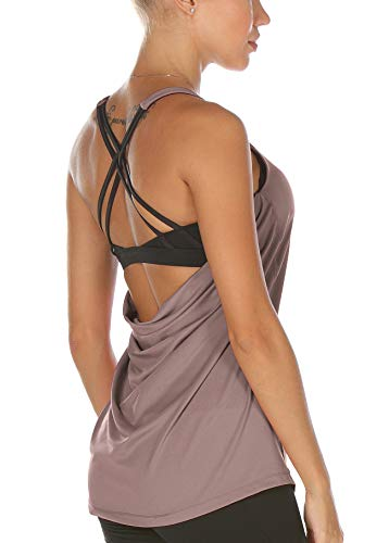 icyzone Damen Sport Yoga Top mit BH - 2 in 1 Fitness Shirt Cross Back BH Training Tanktop (L, Mauve Shadows)
