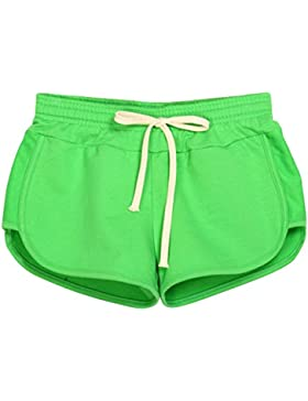 QitunC Pantaloncini Da Donna Coulisse Vita Elastica Estivi Casuale Sport Pantaloni Corti Hot Pants Fr Verde L