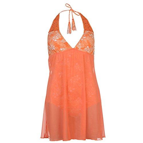 SoulCal Damen Badekleid Stretch Badeanzug Kleid Neckholder Flatlocknaehte Chiffon-Koralle 16 (XL) (Braunes Neckholder-badeanzug)