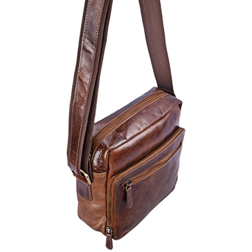 900ae61613 ... STILORD 'Nathan' Borsello da Uomo a tracolla in pelle Piccola borsa  messenger in Cuoio ...