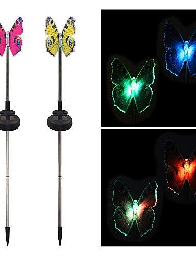 GXS/ pack de 2 fibres optiques papillon solaire changeant de couleur jeu de jardin lumière , rgb