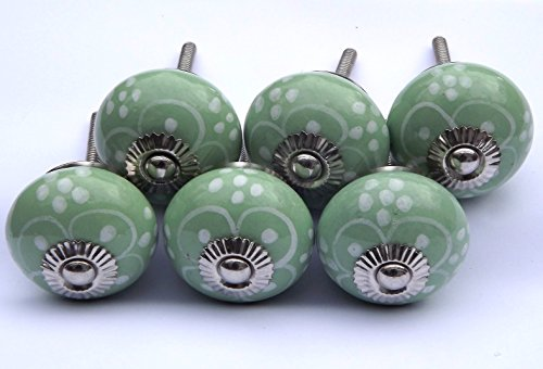 6 x Green round White flower painted petals (chrome fittings) ceramic cupboard door knobs drawer pulls by Glass doorknobs and furniture pulls