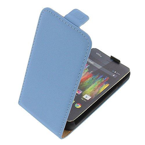 Tasche für Wiko Kite 4G Premium Flip Kunstleder hellblau