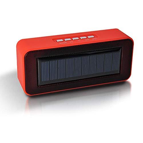 ZENWEN Solar Powered Tragbarer Bluetooth Lautsprecher Smartphone Wireless Link kleine Lautsprecher Desktop Portable Stereo-Lautsprecher für den Heimbereich, SUP Hafen Freisprech-Telefon (rot)