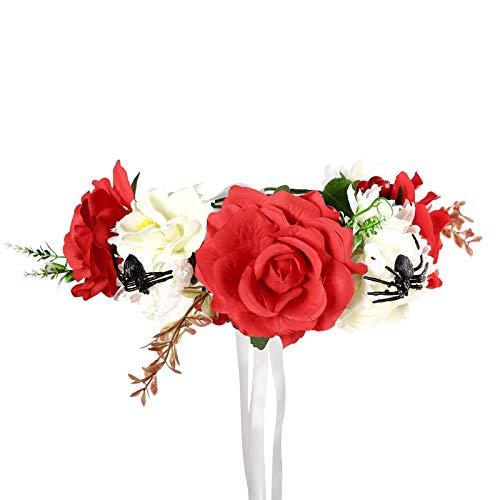 Kopfbedeckung Kostüm Blume - Halloween Blume Krone Festival Kopfschmuck - Tag des toten Schleiers Blume Stirnband Halloween Schleier Gothic Kopfbedeckung Kopfbedeckungen Kostüm Party Festival Haargirlande (Weiß + Rot (Spinne))