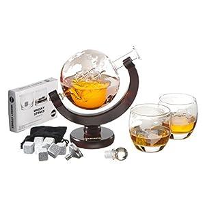 Harrison's Finest Glas Whiskey Dekanter-Set–850ml Globus-Dekanter mit Glas-Verschluss, 2geätzte Globus- Gläser, Edelstahl-Trichter und 9Whiskey-Steine