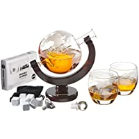 Harrison's Finest Glass Whiskey Decanter Set - 850ml Globe Decanter With Glass Stopper, 2 Etched Globe Glasses, Stainless Steel Pouring Funnel and 9 Whiskey Stones