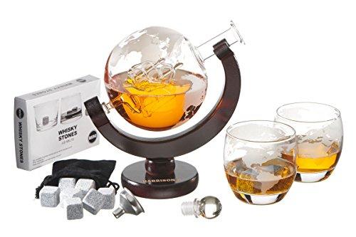 Harrison\'s Finest Glas Whiskey Dekanter-Set–850ml Globus-Dekanter mit Glas-Verschluss, 2geätzte Globus- Gläser, Edelstahl-Trichter und 9Whiskey-Steine