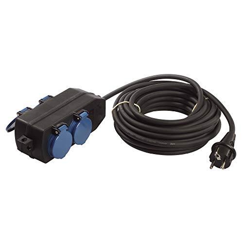 as - Schwabe 4-Fach Verteilersteckdose 230 V / 16 A - Stromverteiler mit 10 m Schwerer Gummischlauchleitung H07RN-F 3G1,5 - Ideal für den Outdoor-Bereich geeignet - IP44 - Schwarz I 60671