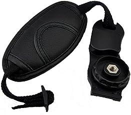 "J Leather Padded Camera Wrist Strap Hand Grip Strap Adjustable with 1/4"" Screw Mount for DSLR SLR Camera Canon Nikon Sony Pentax Minolta Panasonic Olympus Kodak (Black)"