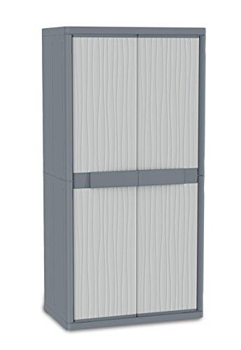 Terry Jumbo 3900UW Hochschrank aus Kunststoff, XL, Besenschrank, grau, 89,7x 53,7x 180cm