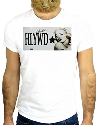 T SHIRT JODE Z2688 MARILYN HOLLYWOOD COOL NICE ROCK HIPSER NAME PLATE VINTAGE GGG24 BIANCA - WHITE