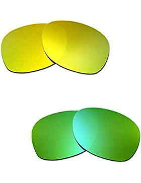 Hkuco Plus Mens Replacement Lenses For Ray-Ban Wayfarer RB2132 55mm 24K Gold/Emerald Green Sunglasses