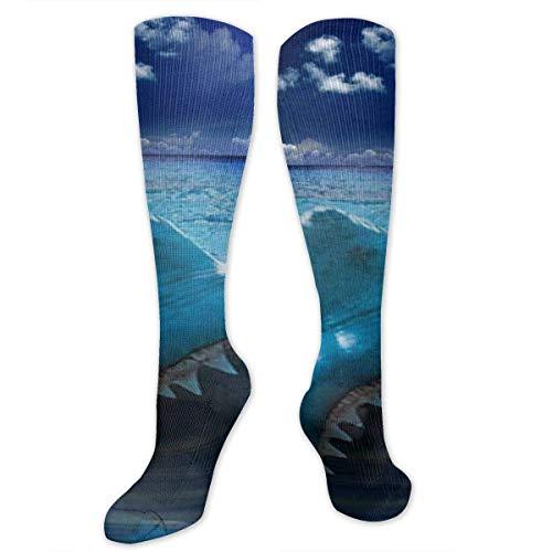 Nifdhkw Big Tall Casual Sports Socks for Men Shark Unisex Non Slip Boot Socks Long Stocking Women Training -