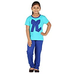FICTIF Kid Girls Blue Color Top & Pyjama Set