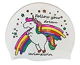 Swimxwin Gorro de Silicona Follow Your Dreams | Gorro de Natación|Gorro de Piscina | Alta Comodidad y Adherencia | Diseño y Estilo Italiano