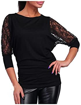 Koly_Le donne merletto del manicotto pieno casuale allentato delle parti superiori T Shirt