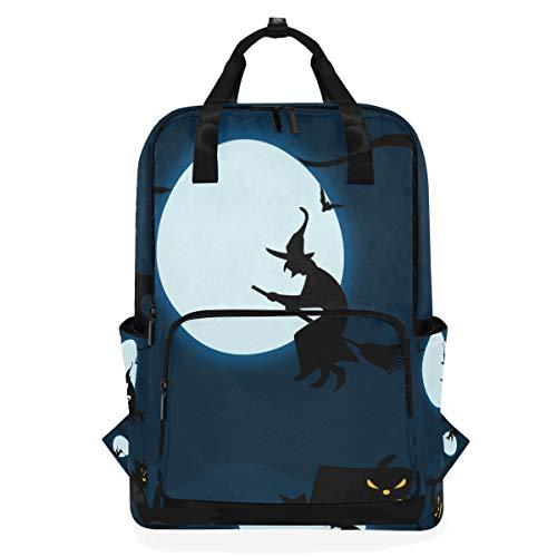 Rucksäcke für Schule, Buchtasche, Reisen, Wandern, Camping, Tagesrucksack für Jungen und Mädchen, 26,7 x 14 x 38,1 cm, für 35,6 cm Laptop (Hexe illustriert die Nacht)