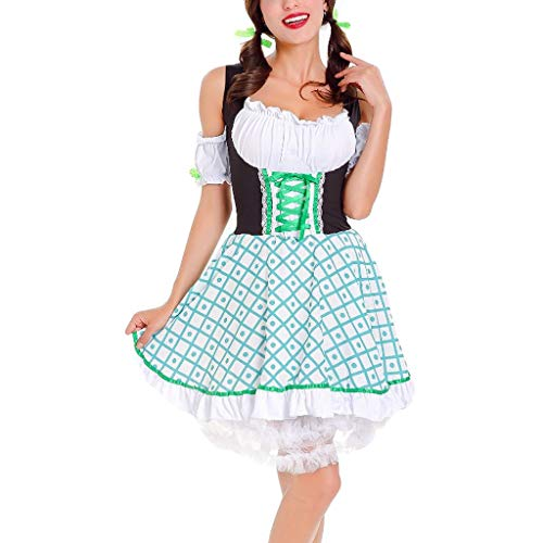 Oktoberfest Kostüm für Damen Bierfest Drucken Kleid Anzug Trachtenkleid Dirndl Tavern Maid Dress Traditionelle Kleidung karnevalskostüme Cosplay Weihnachtsfeier Kleider ZHANSANFM (XL, Grün)