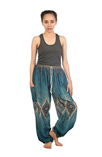 Lofbaz Pantaloni Coulisse da Donna Harem Boemo Diamante Teal Verde Taglia unica