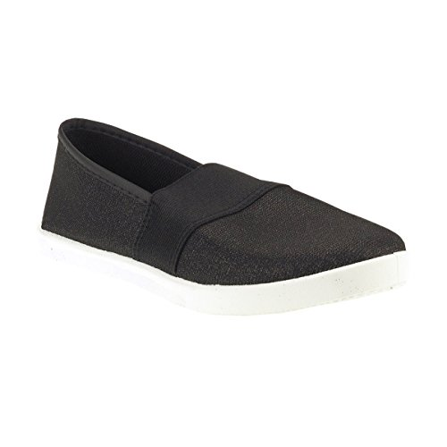 20011 Senhoras Sapatos Fashion4young Deslizador Senhoras Lipperland Sapatos De Material Metálico-efeito Têxtil Preto