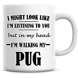 Taza con texto i 'm caminar My Pug Taza de café