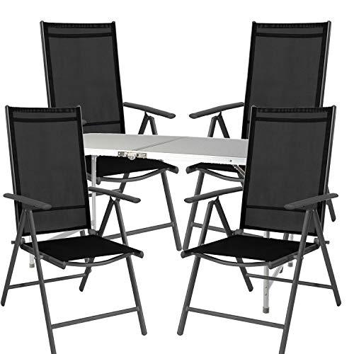 Mojawo  5tlg. set di mobili da campeggio in alluminio, 70 x 50 x 59 cm, 1 x xxl tavolo da campeggio con maniglia + 4 sedie pieghevoli in alluminio antracite/tessuto nero