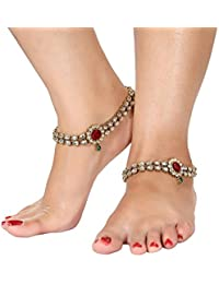 I Jewels Traditional Gold Plated Kundan Anklets Payal for Girls & Women A018RG