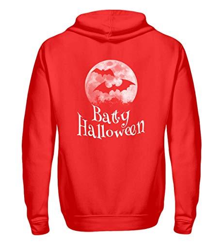 Shirtee Batty Happy Halloween - Gruselige Fledermäuse vor Stylischem Vollmond an Samhain - Zip-Hoodie