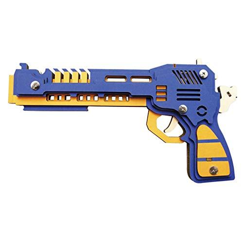 LSQR 3D Rubber Band Pistola in Legno Giocattoli Fai da Te di Legno tiro Giocattolo Pistole Ragazzi all\'aperto Divertimento Sport per Bambini,Blue