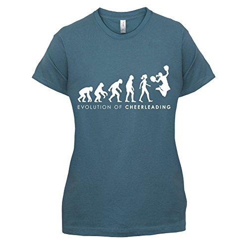 Cheerdance Blau Kostüm (Evolution of Woman - Cheerleading - Damen T-Shirt - Indigoblau -)