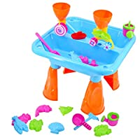 deAO Sand and Water Table with Double Compartment for Toddlers including Assorted Accessories
