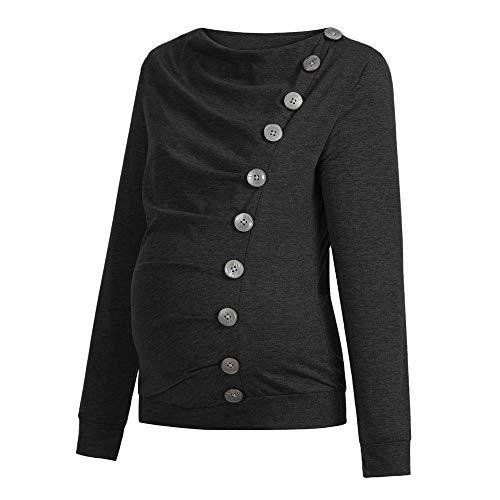 Amphia - T-Shirt der schwangeren Frauen ShirtFrauen Krankenpflege Mutterschaft Langarm Cowl Neck Buttons Tunika Top T-Shirt Kleidung - (Schwarz,XXL) (Mutterschaft Schwarzen Rollkragen)