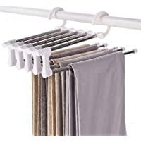 Global Local 5 in 1 Magic Pants Hangers/Rack 5 Layers Steel Non-Slip Space Saving Clothes Closet Storage Organizer for…