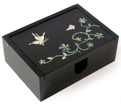 Mère de perle en bois boîte pour cartes de visite, boîte de rangement, fait à la main, cadeau Papillon
