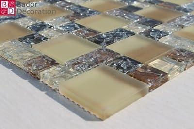 1 Matte Glasmosaik Mosaikfliesen Beige Braun Mit Effekt Gebrochenes Glas 30x30 von Bador bei TapetenShop