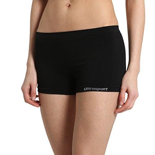 Ultrasport Damen Funktions-Sport Hot Pants Hipster, ideale Sport Shorts für alle Aktivitäten und jede Sportart / bequeme Hotpants für Frauen mit leichtem Figur formenden Effekt, ideal als Unterwäsche, Schwarz, S/M
