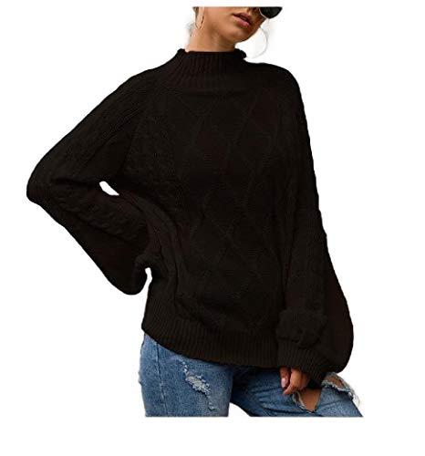 VITryst Women Rhombus Puff Sleeve Semi-high Collar Knitted Pullovers Sweater Black S -