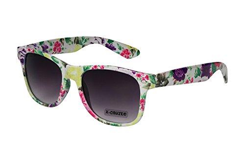 X-CRUZE® 8-049 X0 Nerd Sonnenbrille Retro Vintage Design Style Stil Unisex Herren Damen Männer Frauen Brille Nerdbrille - Blumendesign weiß