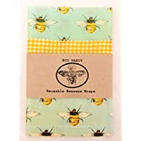 Large Set Of 3 Eco Beeswax Food Wraps, Zero Waste, Handmade in uk