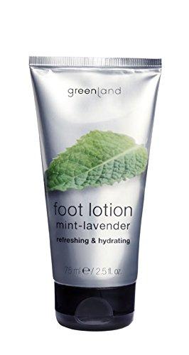 Greenland Fuss Creme Minze Lavendel   75ml Natürliche Fuss Lotion für weiche Füße   Ideale, Verwöhnende Wellness Fusspflege Creme nach einem Fussbad (Kühlen Fußbad)