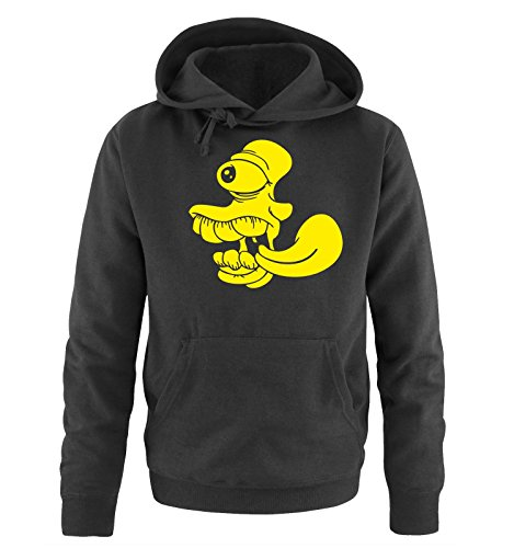 Comedy Shirts - COMIC FACE - Uomo Hoodie cappuccio sweater - taglia S-XXL different colors nero / neon giallo