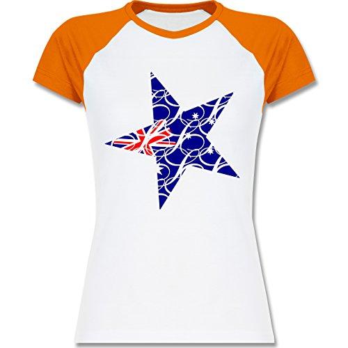Shirtracer Länder - Australien Stern - Zweifarbiges Baseballshirt/Raglan T-Shirt für Damen Weiß/Orange