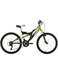 KS Cycling Kinder Kinderfahrrad Mountainbike Fully Zodiac RH 38 cm Fahrrad, Grün-Schwarz, 24